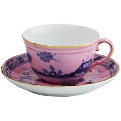 Oriente Italiano Azalea Tea Cup and Saucer by Ginori 1735