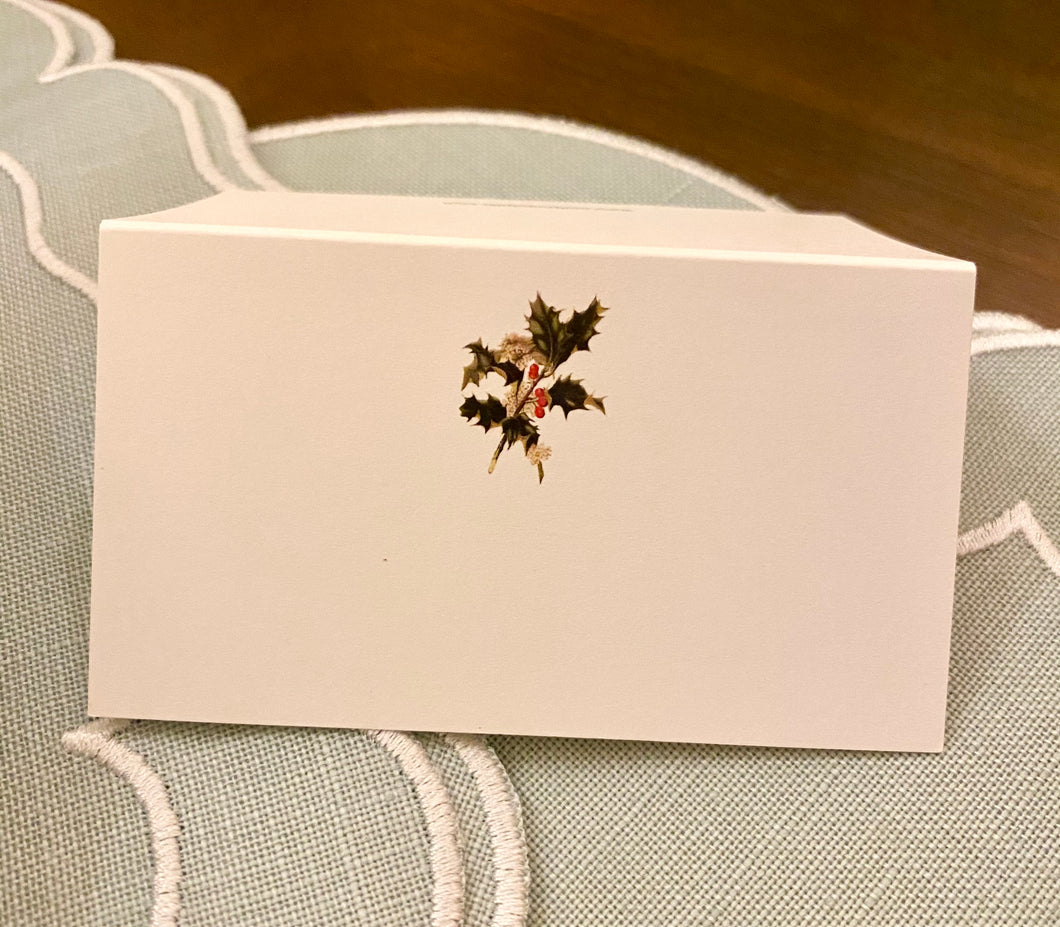 Holly Branch Tented Place Cards