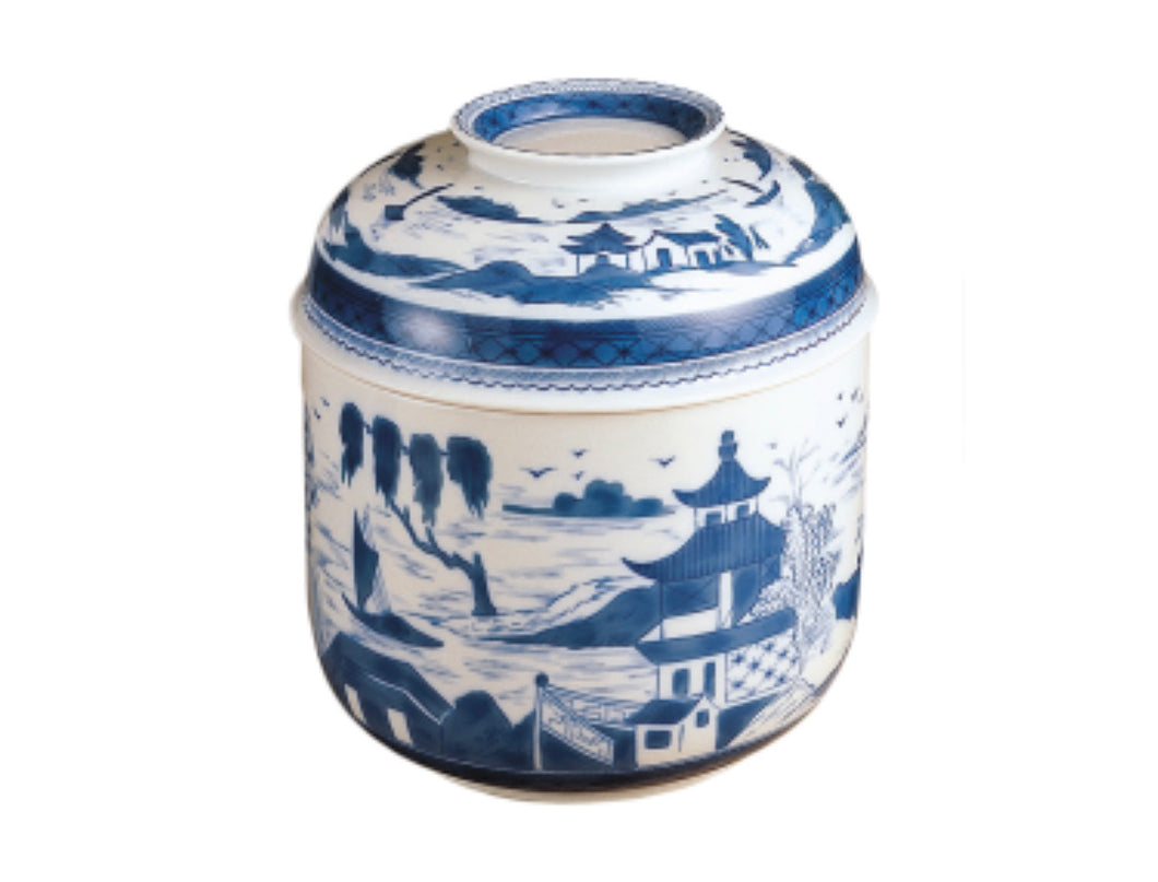 Blue Canton Covered Temple Jar by Mottehedeh