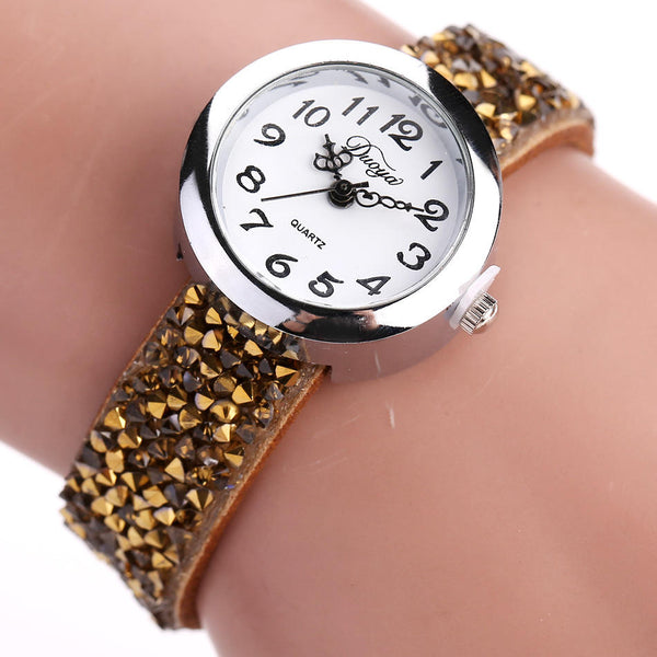 DUOYA DY005 Retro Style Ladies Bracelet Watch Gift Leather Strap Quartz Watches