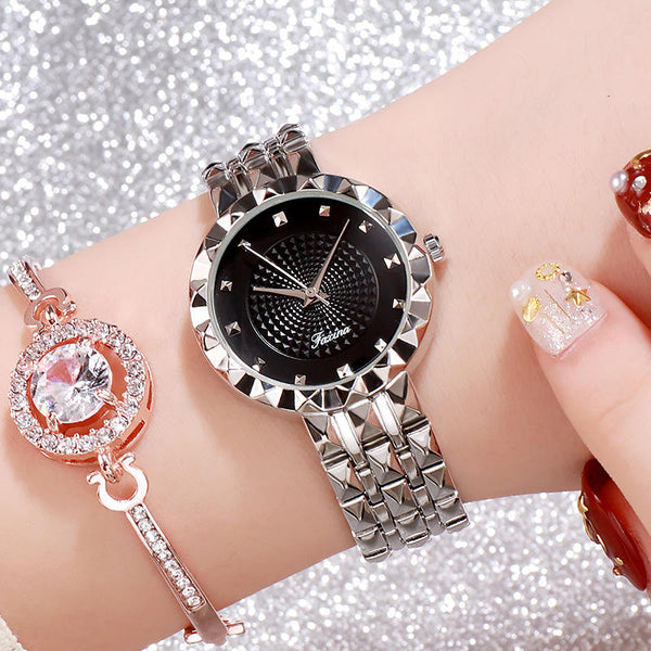 Deffrun Shining Fashion Style Women Wrist Watch Full Steel Quartz Watches