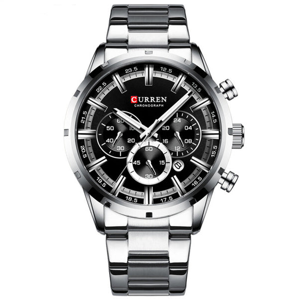 CURREN 8355 Business Men Watch Waterproof Luminous Display Stainless Steel Quartz Watch
