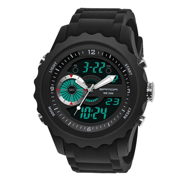 SANDA 769 Dual Digital Digital Watch Men PU Stopwatch Luminous Display Calendar Outdoor Sport Watch
