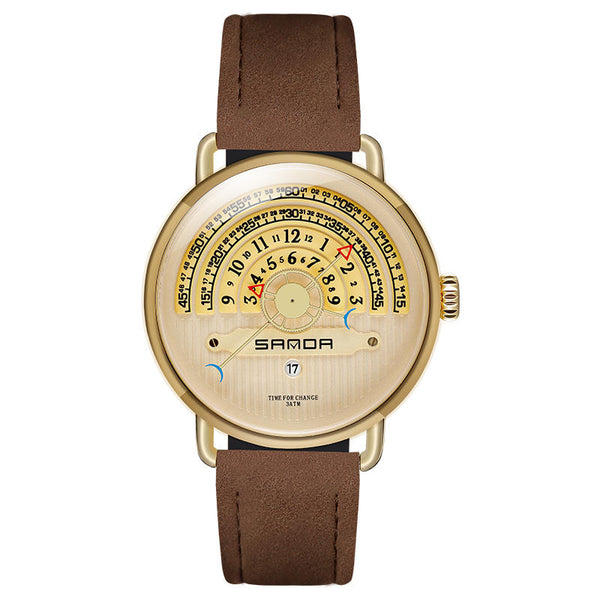 SANDA P1030 Fashion Date Display Creative Dial Fashion Men Leather Strap Quartz Watch