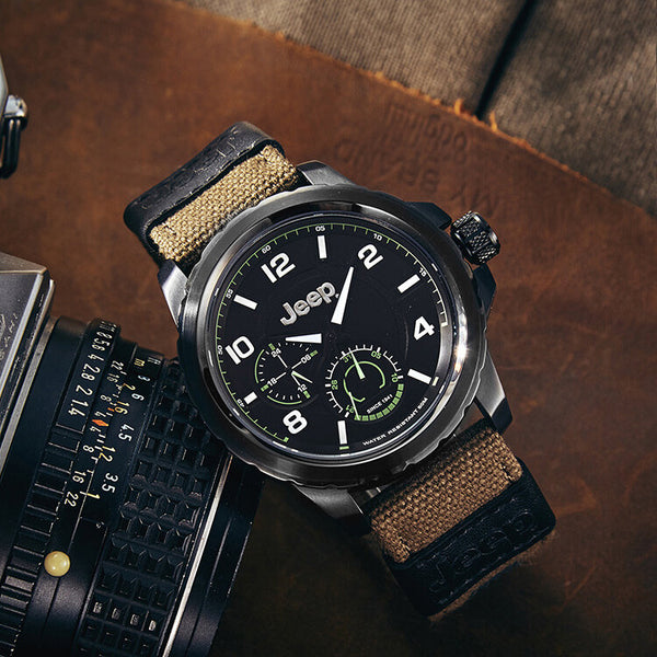 JEEP Watch JPW646 Sport Luminous Display Calendar Canvas Strap 5ATM Waterproof Men Quartz Watch