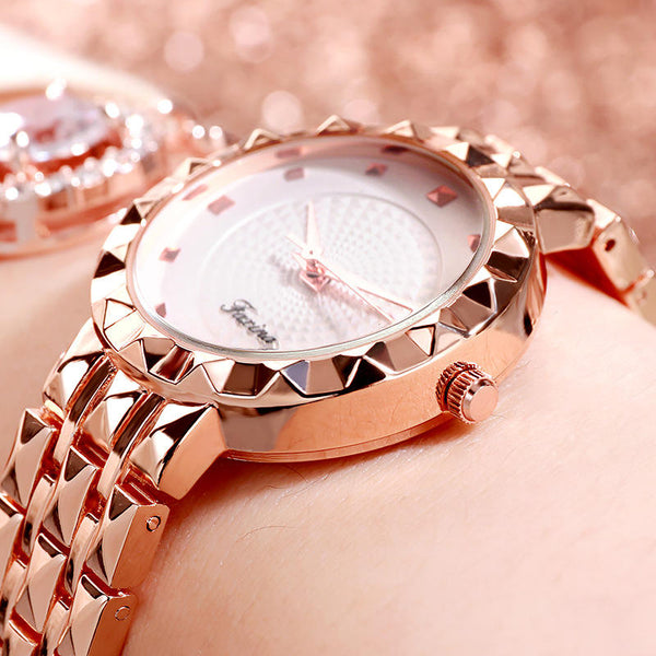 Deffrun Full Steel Case Casual Style Women Wrist Watch Clock Quartz Watches