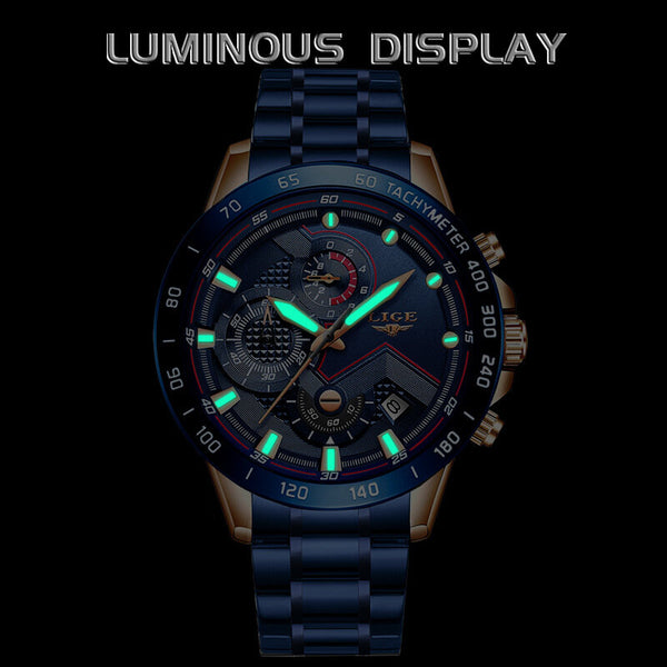 LIGE 9982 Waterproof Multifunction Men Wrist Watch Luminous Display Quartz Watch