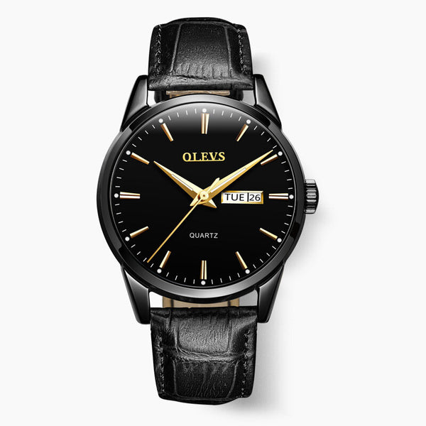 OLEVS 6898 Fashion Men Watch Date Week Display Leather Strap Casual Quartz Watch