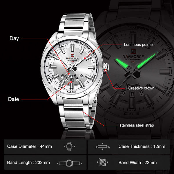 NAVIFORCE 9038 Waterproof Calendar Men Wrist Watch Luminous Display Full Steel Clock Quartz Watches