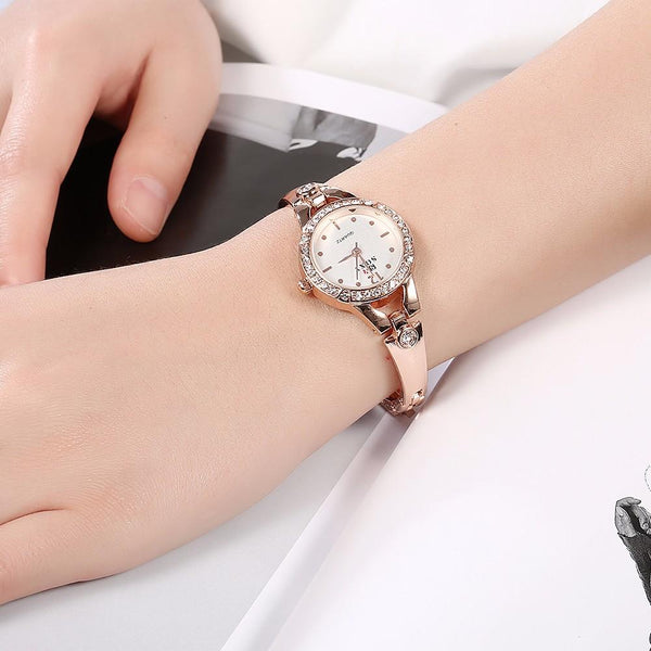 SOXY Rhinestone Bracelet Watch Casual Style Stainless Steel Strap Quartz Watches