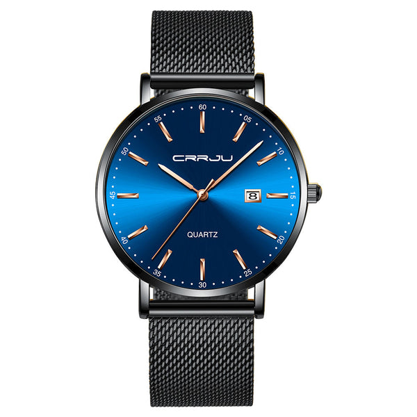 CRRJU 2161 Business Style Date Display Luxury Blue Dial Full Steel Strap Men Quartz Watch