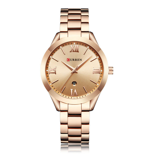 CURREN 9007 Calendar Fashionable Women Watches Stainless Steel Strap Quartz Watch