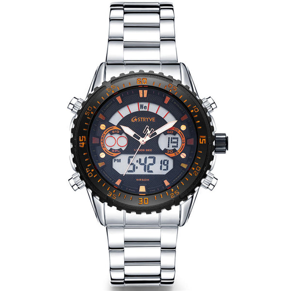 STRYVE S8020 LCD 5ATM Waterproof Week Display Full Steel Fashion Men Dual Display Digital Watch