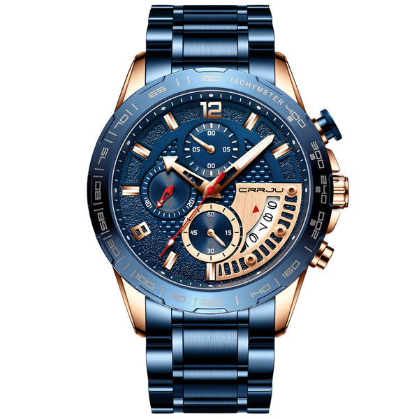 CRRJU 2281 Full Steel Sport Style Chronograph Luminous Fashion Men Quartz Watch