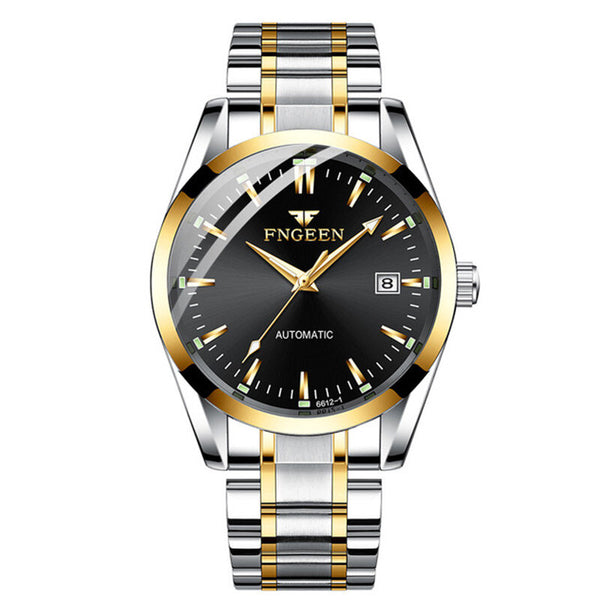 FNGENN Fashion Men Business Style Full Steel Watch Luminous Display Automatic Mechanical Watch