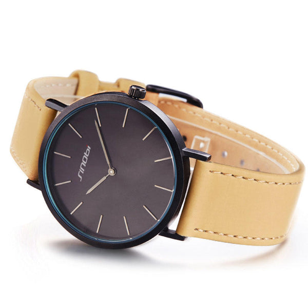 SINOBI 9691 Women Watch Simple PU Leather Strap Luxury Brand Ladies Quartz Wrist Watch