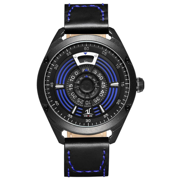 WEIDE UV1701 Unique Design Men Wrist Watch Leather Strap Casual Style Quartz Watch