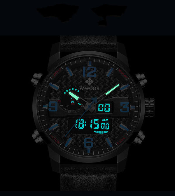 WWOOR 8859 Waterproof Dual Display Watch LED Leather Band Men Quartz Watch