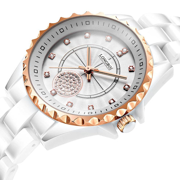 LONGBO 80027 Crystal Quartz Watch Exquisite Dial Casual Women Wrist Watch