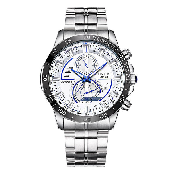 LONGBO 80132 Luminous Men Watch Fashion Date Display Stainless Steel Quartz Wrist Watch