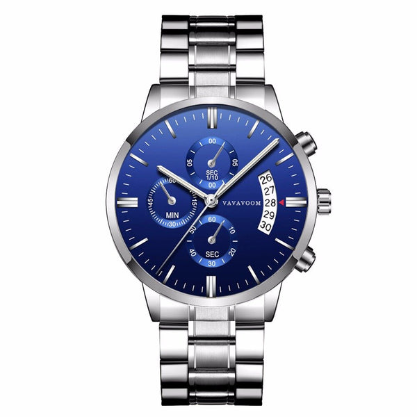VAVA VOOM Fashion Casual Date Display Waterproof Stainless Steel Strap Men Quartz Watch