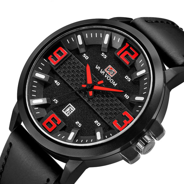 VA VA VOOM VA-217 Fashion Men Watch Calendar Display 3ATM Waterproof Leather Strap Quartz Watch