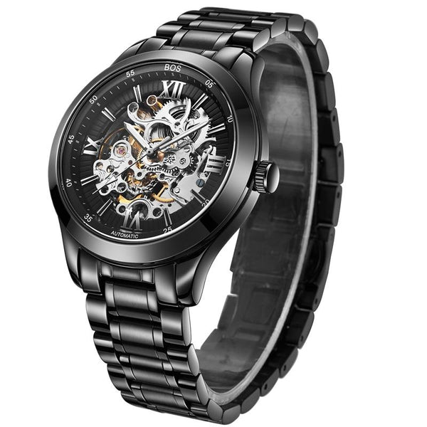 ANGELA BOS 9008 Mechanical Men Watch Automatic Pointer Black Dial Stainless Steel Watches