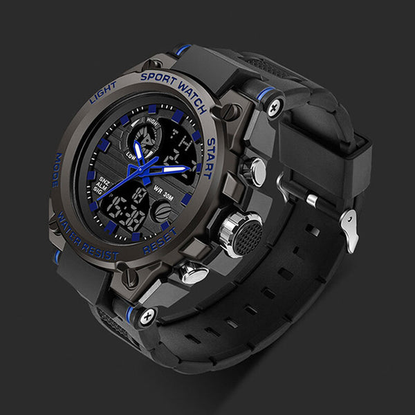 SANDA 739 Military Outdoor Sport Multifunction Luminous Timing Calendar Alarm Waterproof Dual Display Digital Watch