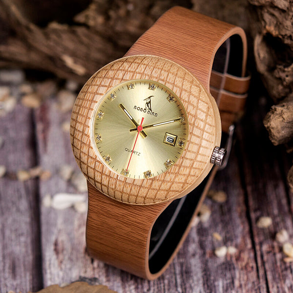 BOBO BIRD W-iQ17 Fashionable Creative Wooden Watch Date Display Women Quartz Watch