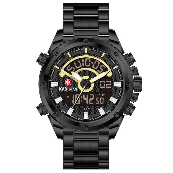 KADEMAN K6126 Casual Men Digital Clock Luminous Date Display 3ATM Waterproof Dual Display Watch