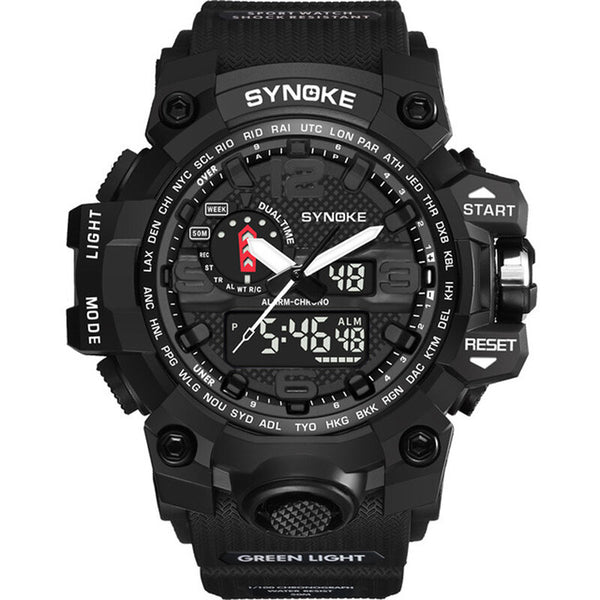 SYNOKE 9401 Sport Men Digital Watch 5ATM Waterproof Dual Time Luminous Display Dual Display Watch
