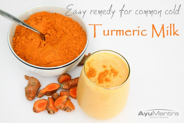 EASY REMEDY FOR COMMON COLD WITH MILK MIXED WITH TURMERIC POWDER