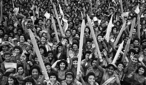 Cuban Revolution' 1961 literacy campaign. Thousands of young volunteers hold up giant pencils.