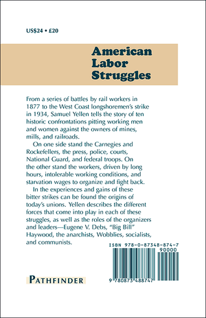 Back cover of American Labor Struggles: 1877–1934