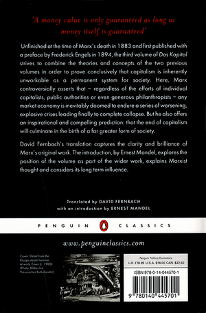 Back cover of Capital, Volume 3
