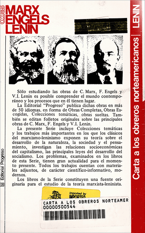Back cover of Carta a los obreros norteamericanos