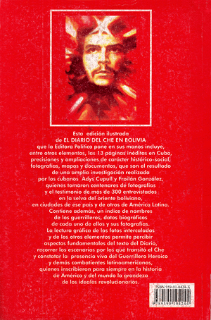 Back cover of El diario del Che en Bolivia