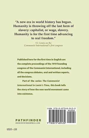 Back cover of Founding the Communist International