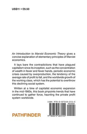 Back cover of An Introduction to Marxist Economic Theory