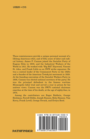 Back cover of James P. Cannon As We Knew Him