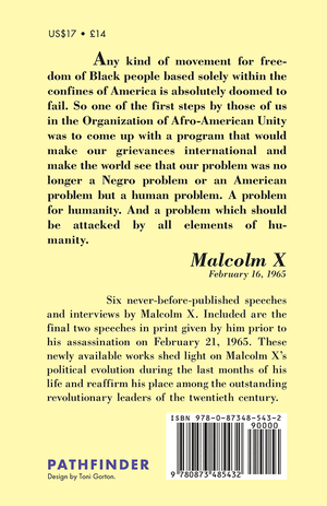 Back cover of Malcolm X: The Last Speeches