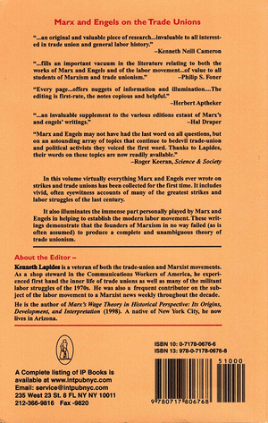 Back cover of Marx and Engels on the Trade Unions