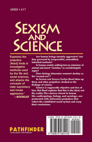 Back cover of Sexism and Science