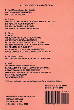 Back cover of Wage Labor and Capital / Value Price and Profit