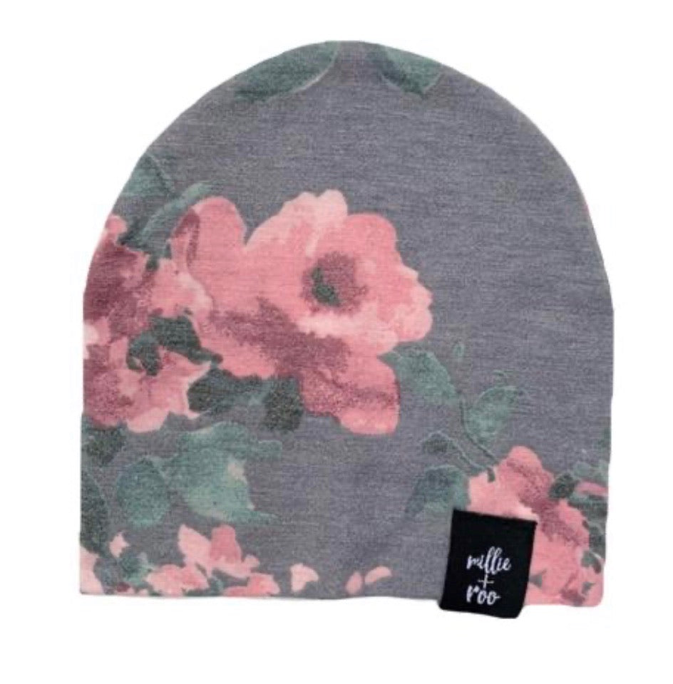 Dusty Floral Beanie (Gray Combo)