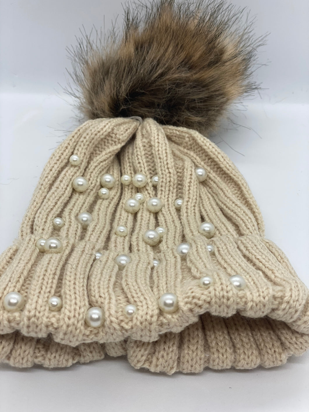 Baby Faux Fur Pearl Knitted Hat