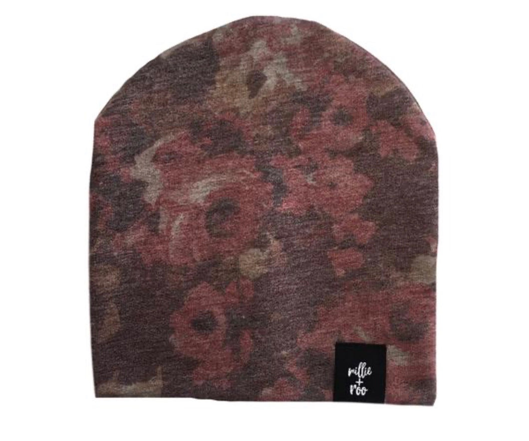 Dusty Floral Beanie (Cranberry Combo)
