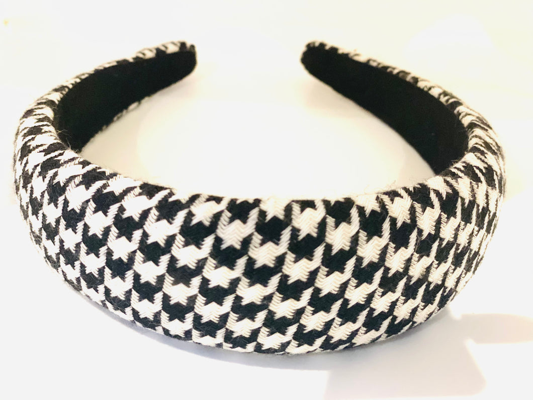 Mini Puff Houndstooth Chic Headband