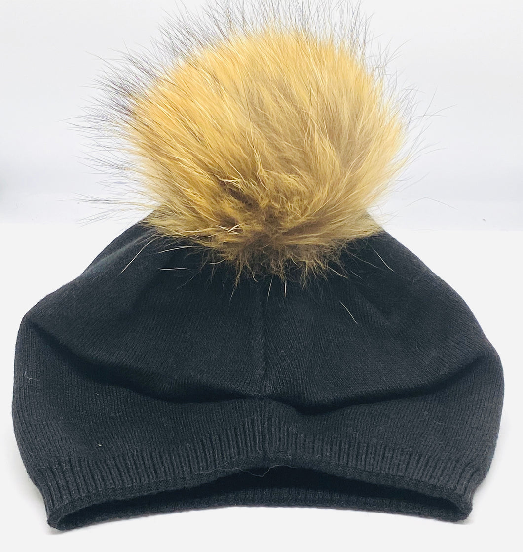 Fur Pom Slouch Hat