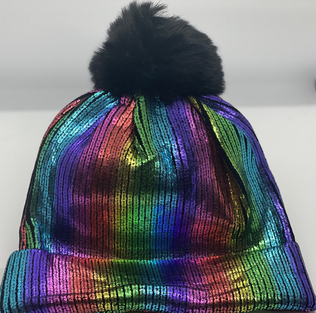 Faux Fur Metallic Hat